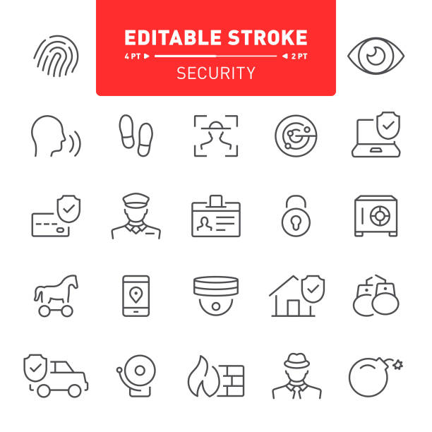 Security Icons Security, security system, editable stroke, icon, icon set, protection, fingerprint, outline, alarm id card stock illustrations