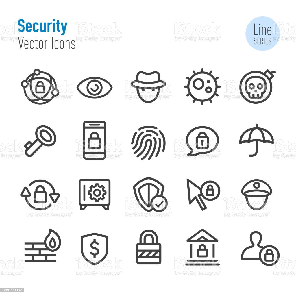 Security Icons - Vector Line Series vector art illustration
