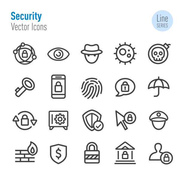 Security Icons - Vector Line Series Security, privacy, Internet, Firewall, Technology safety deposit box stock illustrations