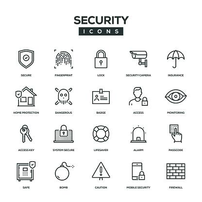 Security Line Icon Set