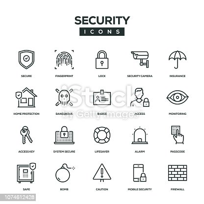 Security Line Icon Set
