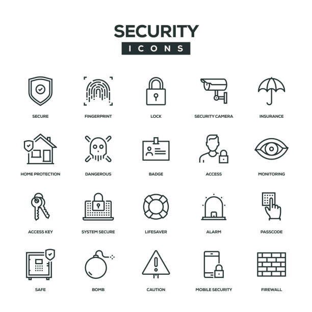 illustrations, cliparts, dessins animés et icônes de sécurité ligne icon set - security