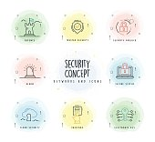 Security Line Icon Set with Watercolor Patch