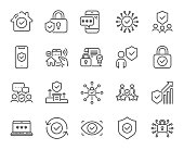 Security line icons. Cyber lock, password, unlock. Guard, shield, home security system. Vector