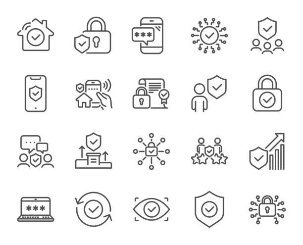ilustraciones, imágenes clip art, dibujos animados e iconos de stock de iconos de línea de seguridad. bloqueo cibernético, contraseña, desbloqueo. guardia, escudo, sistema de seguridad en el hogar. vector - seguridad
