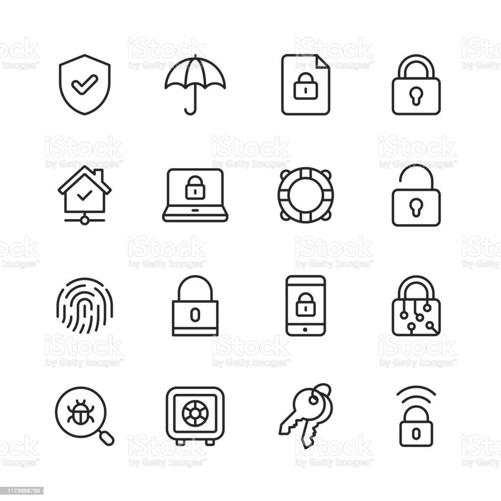 Sicherheitsliniensymbole. Bearbeitbarer Strich. Pixel perfekt. Für Mobile und Web. Enthält Symbole wie Sicherheit, Schild, Versicherung, Vorhängeschloss, Computernetzwerk, Support, Schlüssel, Safe, Bug, Cybersecurity. - Lizenzfrei Antiviren-Software Vektorgrafik