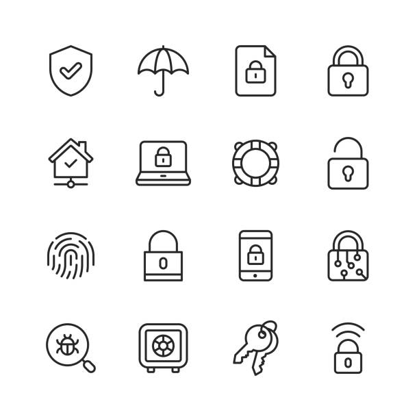 Security Line Icons. Editable Stroke. Pixel Perfect. For Mobile and Web. Contains such icons as Security, Shield, Insurance, Padlock, Computer Network, Support, Keys, Safe, Bug, Cybersecurity. 16 Security Outline Icons. defend stock illustrations