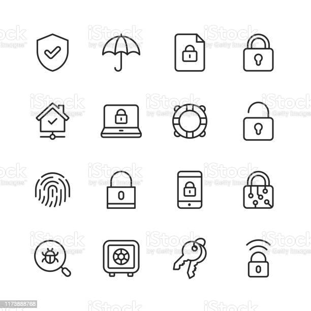 Security Line Icons Editable Stroke Pixel Perfect For Mobile And Web Contains Such Icons As Security Shield Insurance Padlock Computer Network Support Keys Safe Bug Cybersecurity - Arte vetorial de stock e mais imagens de Apoio