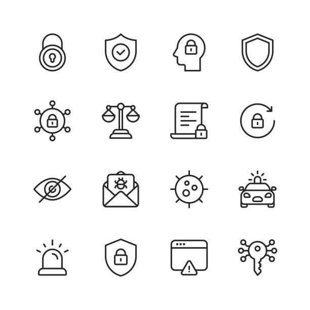 ilustraciones, imágenes clip art, dibujos animados e iconos de stock de iconos de línea de seguridad. trazo editable. píxel perfecto. para móviles y web. contiene iconos como policía, ciberseguridad, escudo, candado, error de ordenador, spam, ley, criptografía. - robo de identidad