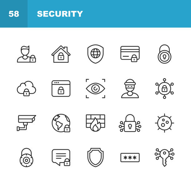 Security Line Icons. Editable Stroke. Pixel Perfect. For Mobile and Web. Contains such icons as Security, Shield, Insurance, Padlock, Computer Network, Support, Keys, Safe, Bug, Cybersecurity. 20 Security Outline Icons. security stock illustrations