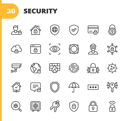 Security Line Icons. Editable Stroke. Pixel Perfect. For Mobile and Web. Contains such icons as Security, Shield, Insurance, Padlock, Computer Network, Support, Keys, Safe, Bug, Cybersecurity, Virus, Remote Work, Support, Thief, Insurance.