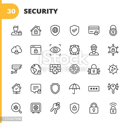 30 Security Outline Icons.