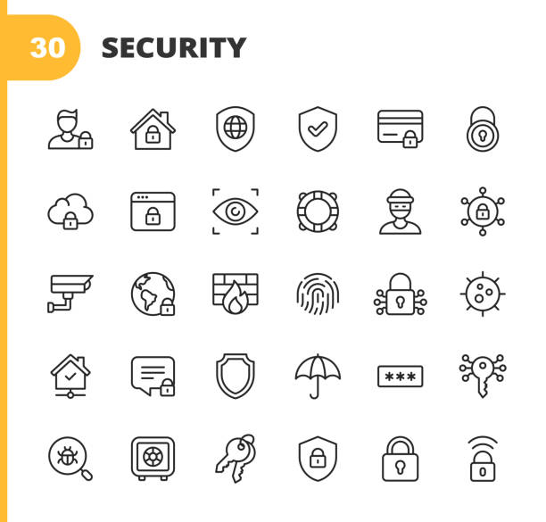 illustrazioni stock, clip art, cartoni animati e icone di tendenza di security line icons. editable stroke. pixel perfect. for mobile and web. contains such icons as security, shield, insurance, padlock, computer network, support, keys, safe, bug, cybersecurity, virus, remote work, support, thief, insurance. - facial recognition