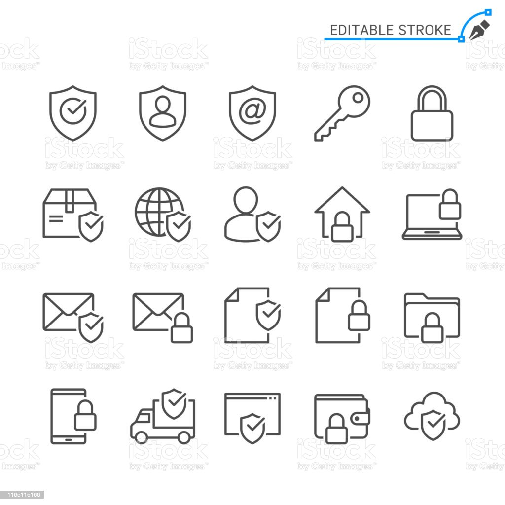 Security line icons. Editable stroke. Pixel perfect. - Royalty-free Arte Linear arte vetorial