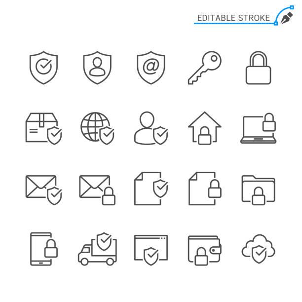 ilustrações, clipart, desenhos animados e ícones de ícones da linha de segurança. traço editável. pixel perfeito. - chave