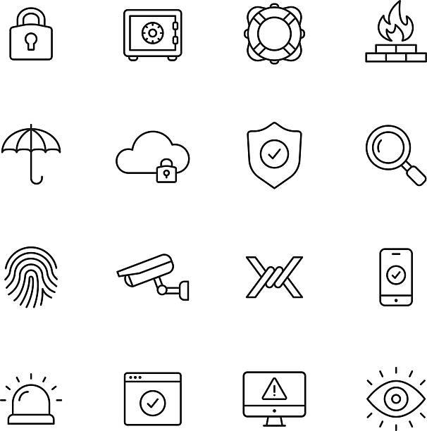 ilustrações, clipart, desenhos animados e ícones de ícones da linha de segurança - computador cadeado