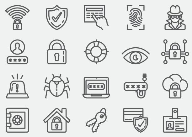 Security Line Icons Security Line Icons house key stock illustrations