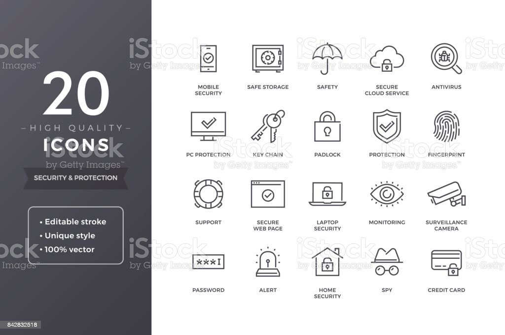 Security Line Icons royalty-free security line icons stock illustration - download image now