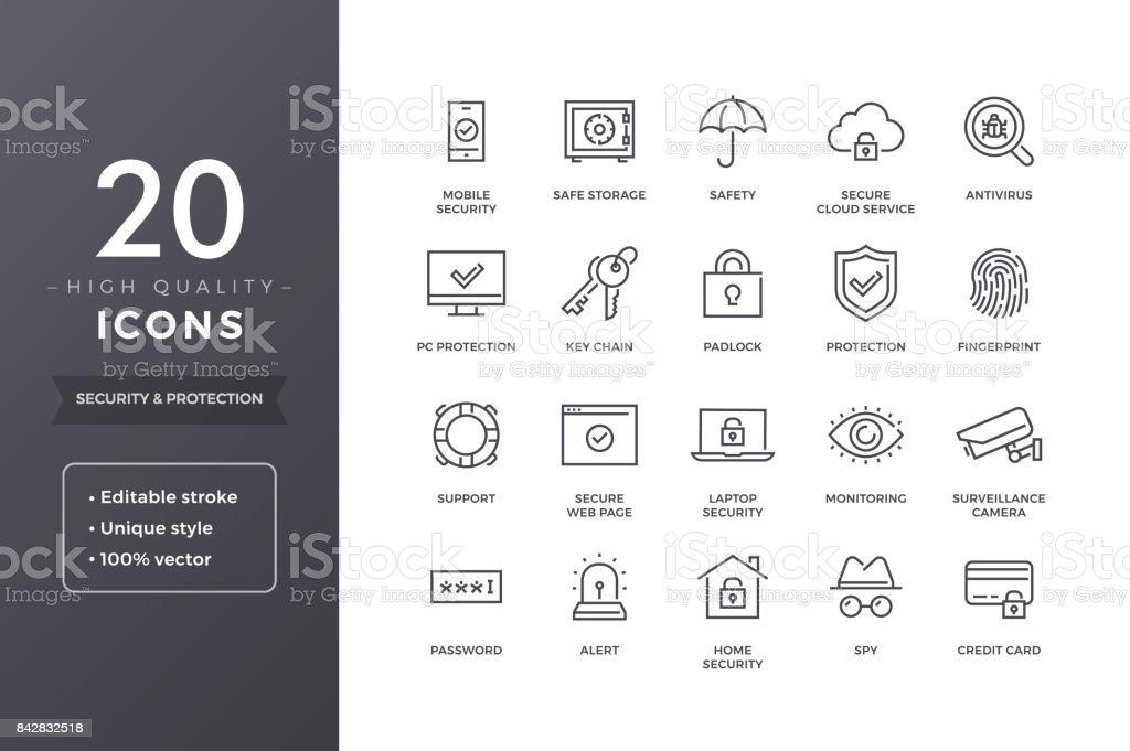 Säkerhet linje ikoner - Royaltyfri Alarm vektorgrafik