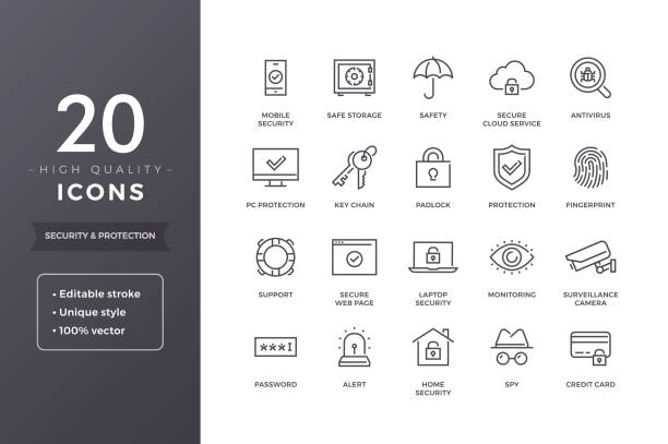 Security Line Icons Security and protection line icons. Cyber web safety and privacy icon set with editable stroke security stock illustrations