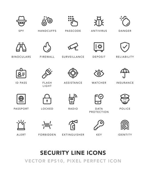 Security Line Icons Security Line Icons Vector EPS 10 File, Pixel Perfect Icons. flashlight stock illustrations