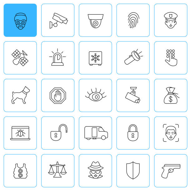 security line vector icon set. editable stroke. - facial recognition stock illustrations