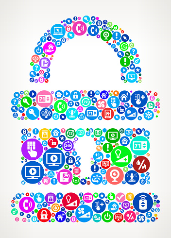 Security Lock Home Automation Technology Icon Pattern Stock Illustration - Download Image Now