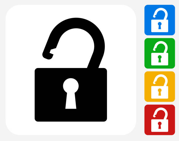 Security Lock Icon Flat Graphic Design Security Lock Icon. This 100% royalty free vector illustration features the main icon pictured in black inside a white square. The alternative color options in blue, green, yellow and red are on the right of the icon and are arranged in a vertical column. keyhole stock illustrations