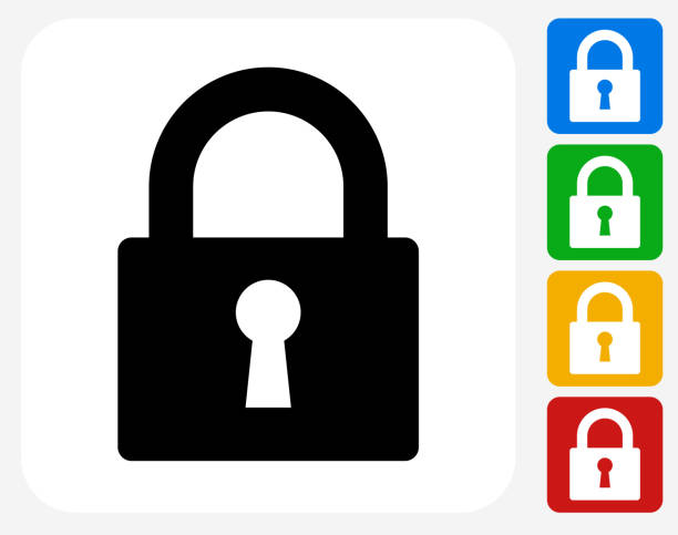 Security Lock Icon Flat Graphic Design Security Lock Icon. This 100% royalty free vector illustration features the main icon pictured in black inside a white square. The alternative color options in blue, green, yellow and red are on the right of the icon and are arranged in a vertical column. locking stock illustrations