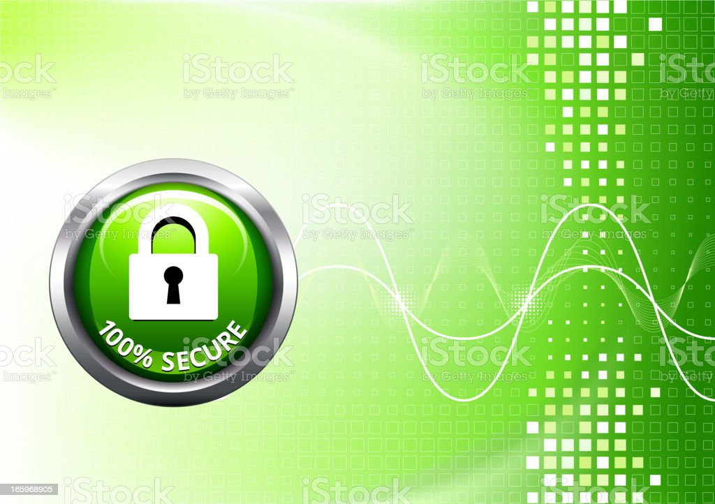 Security Lock on Chrome button with Green Background royalty-free stock vector art