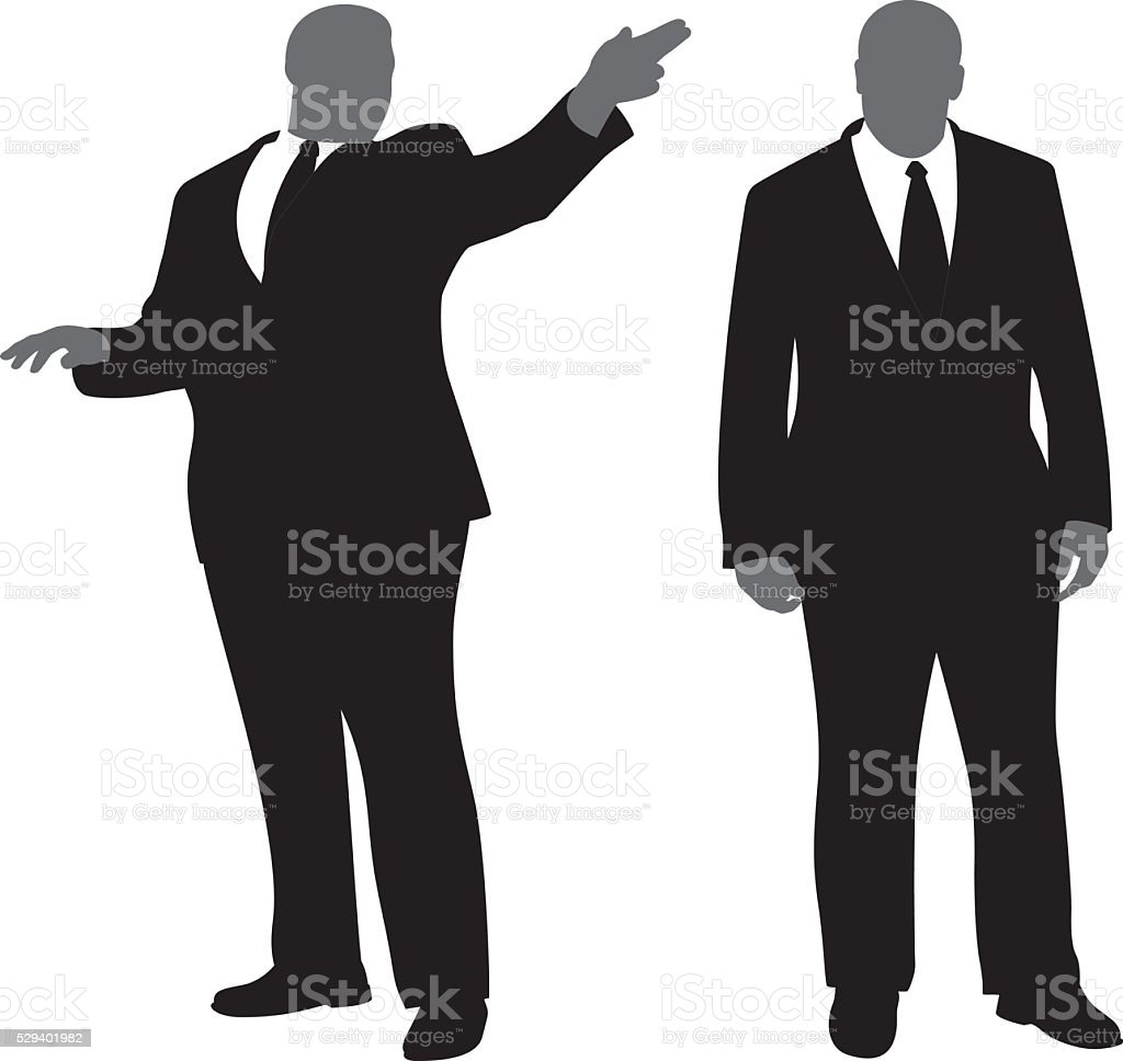 Security Man in Suit Silhouettes vector art illustration