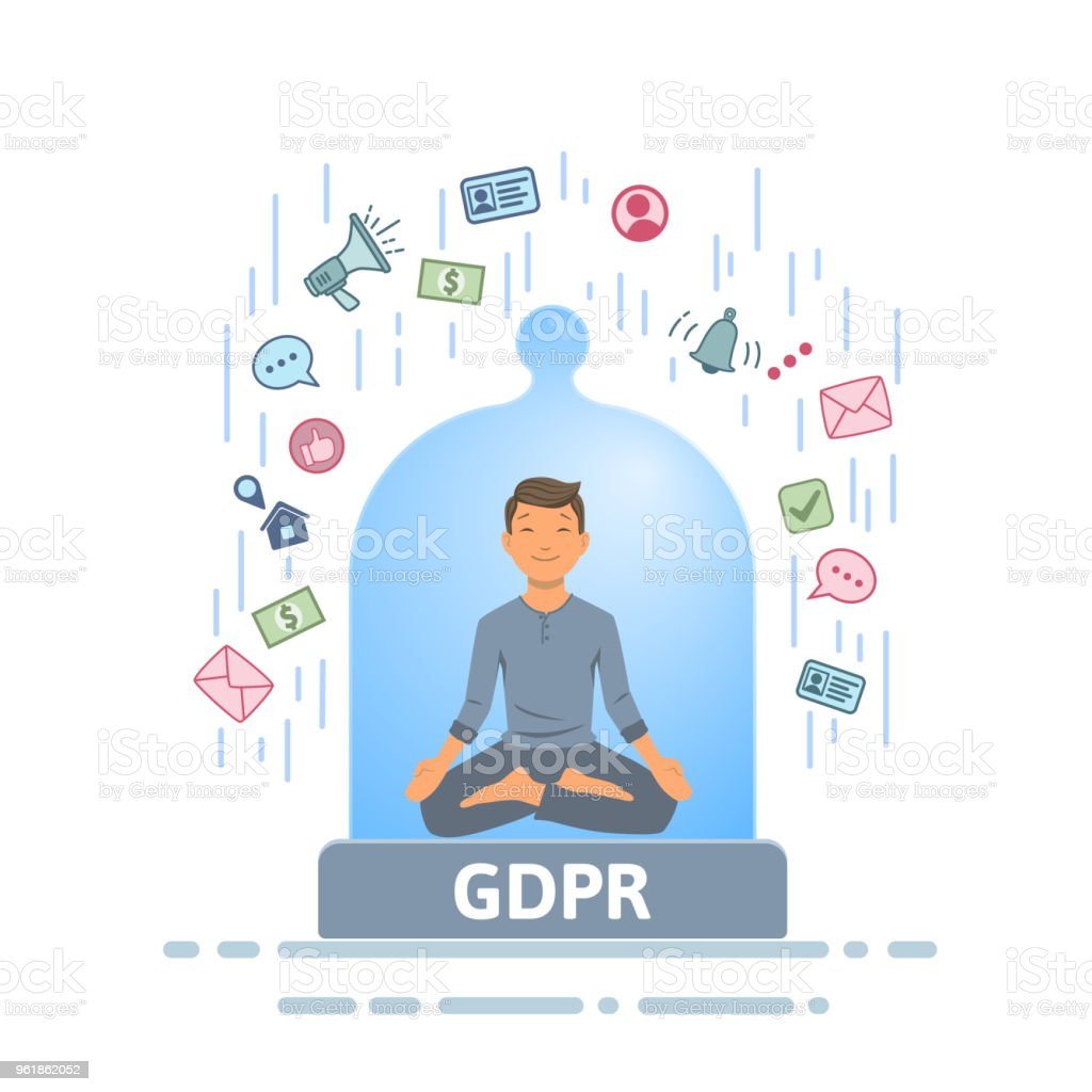 GDPR security. Meditating man feeling safe from information stream inside of glass dome. Flat vector illustration. Isolated on white background. vector art illustration