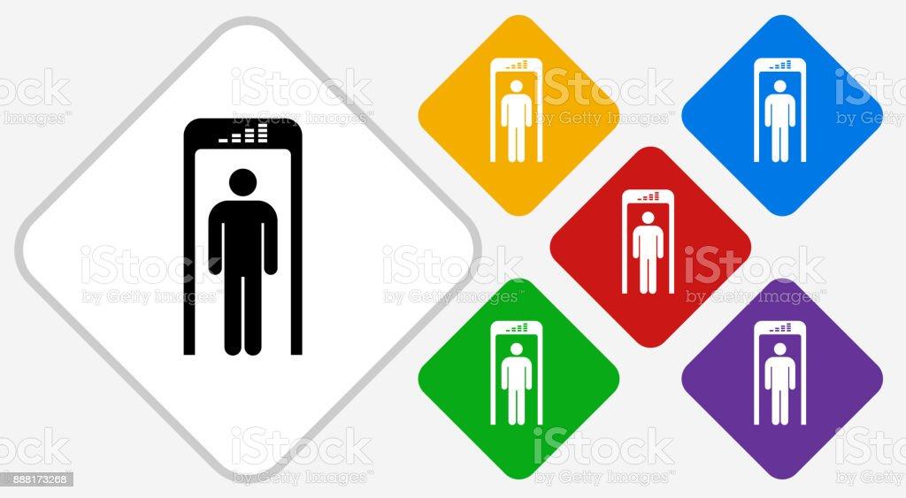Security Metal Detector Color Diamond Vector Icon vector art illustration