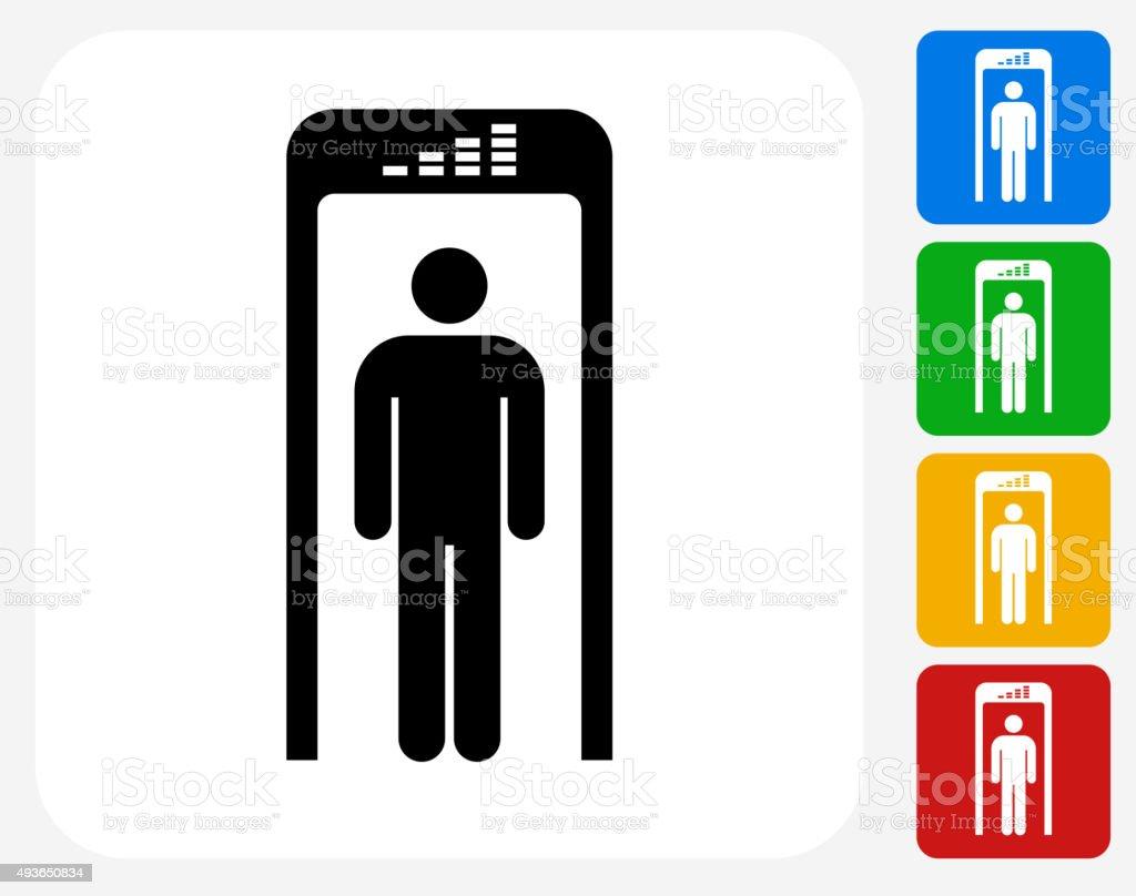 Security Metal Detector Icon Flat Graphic Design vector art illustration