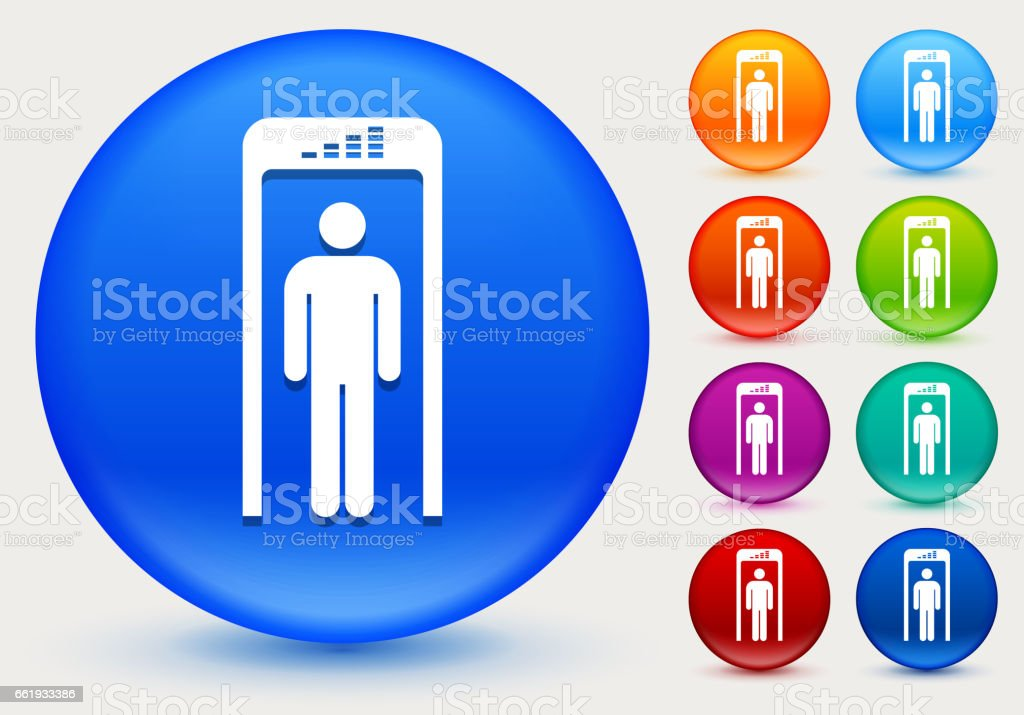 Security Metal Detector Icon on Shiny Color Circle Buttons vector art illustration