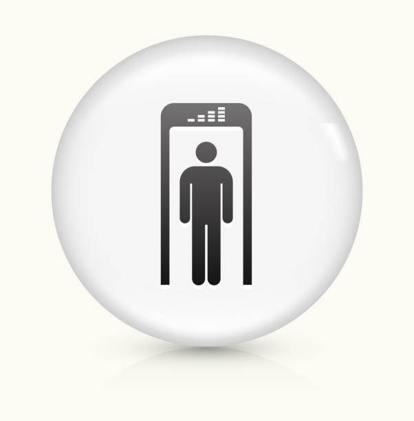 Security Metal Detector icon on white round vector button vector art illustration