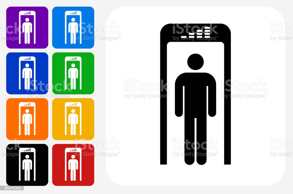 Security Metal Detector Icon Square Button Set vector art illustration