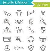 Security modern thin line icons