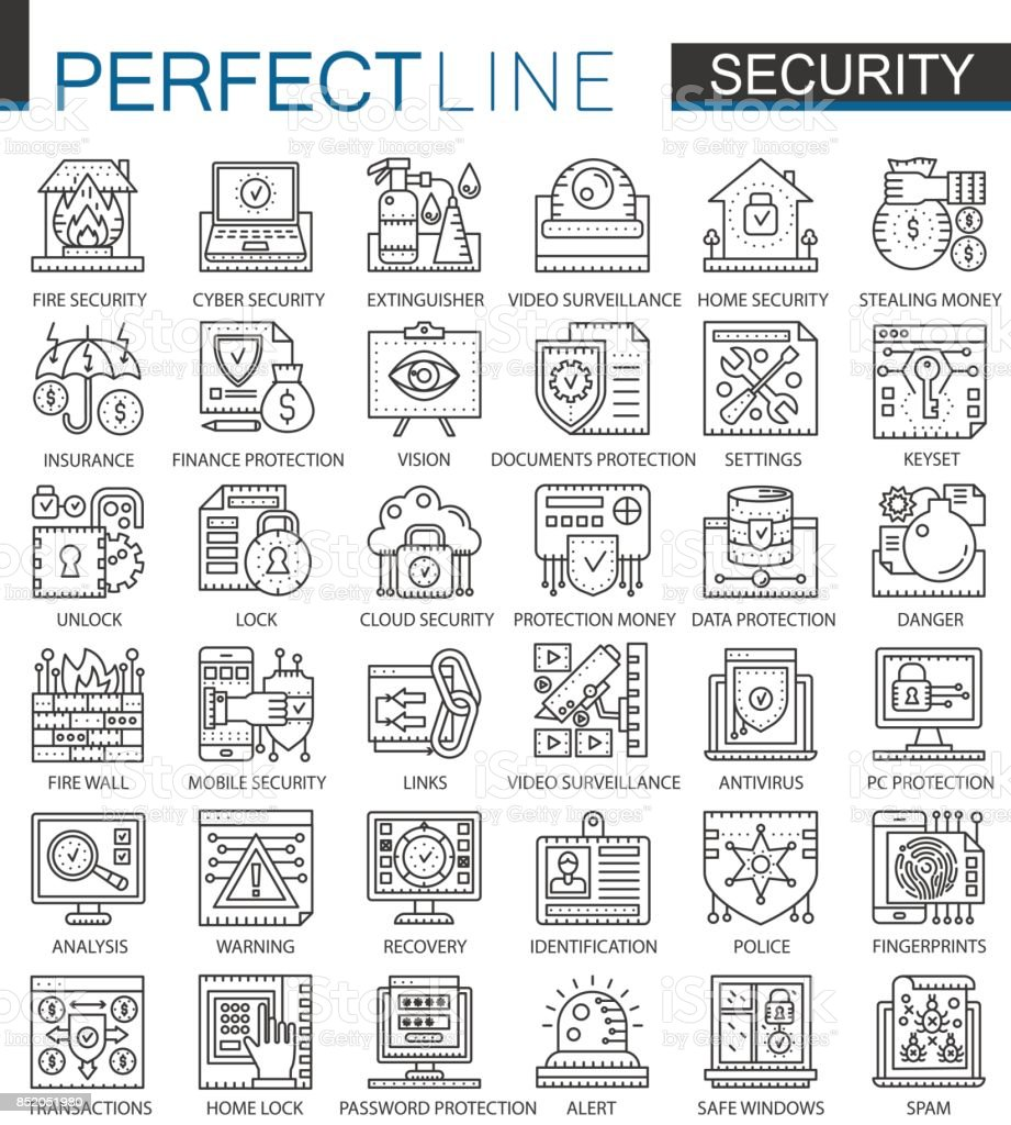 Security Outline Mini Concept Symbols Data Pc Protection Technology