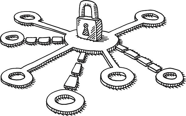 Security Padlock Network Drawing Hand-drawn vector drawing of a Security Network Concept with a Padlock. Black-and-White sketch on a transparent background (.eps-file). Included files are EPS (v10) and Hi-Res JPG. business stock illustrations