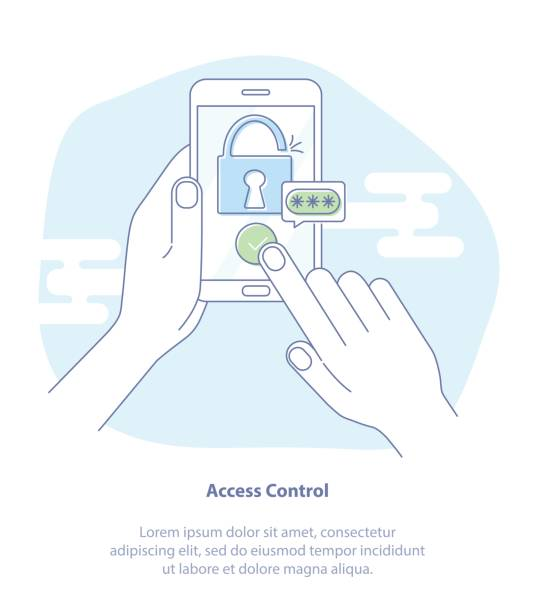 security, personal access, authorization - hand holding phone stock illustrations