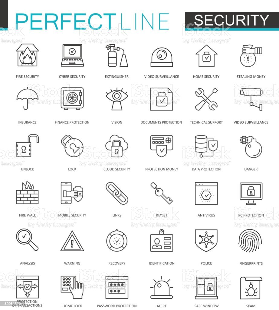 Security protection thin line web icons set. Data, web, personal and home security outline stroke icons design. vector art illustration