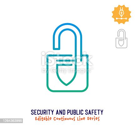 istock Security & Public Safety Continuous Line Editable Stroke Icon 1264363995
