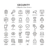 Security - Regular Line Icons - Vector EPS 10 File, Pixel Perfect 30 Icons.