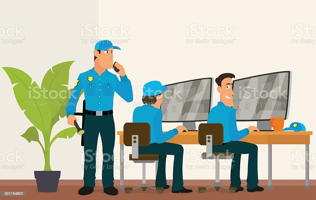 security room in which working professionals vector art illustration
