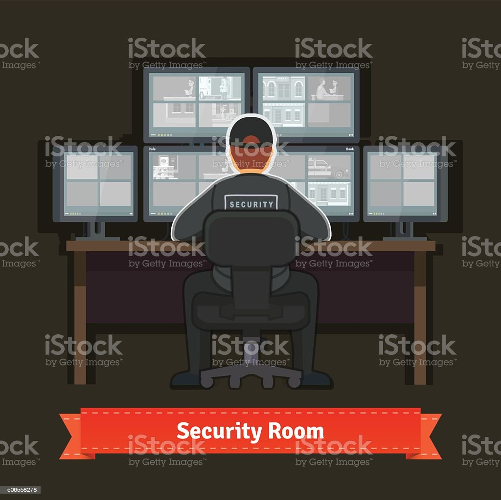 Security room with working professional vector art illustration