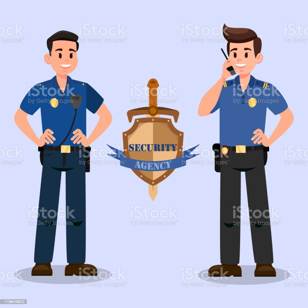 Security Service Guardians Cartoon Characters Stock Illustration Download Image Now Istock