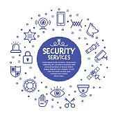 Vector line illustration of security services.
