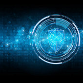 Security shield on matrix style binary background