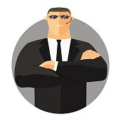 Security sign, safety icon, flat design. Security guard with crossed hands in suit. Vector illustration